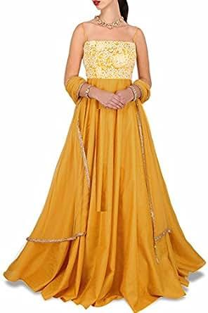 MONIKA SILK MILL Women's Banglori Silk Dress Material (SASUNDAY-2001_Free Size_Yellow)
