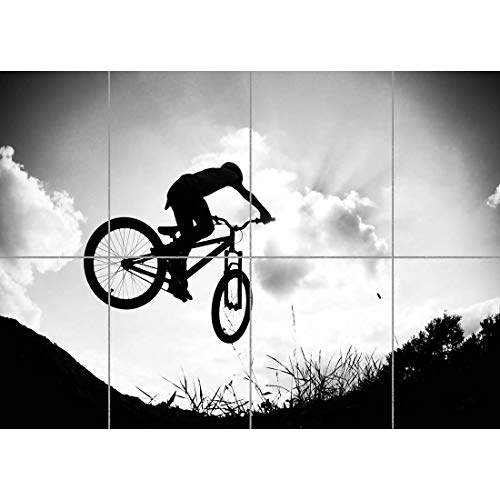 BMX MOUNTAIN BIKE JUMP BICYCLE SILHOUETTE GIANT ART PRINT POSTER PICTURE OZ1633