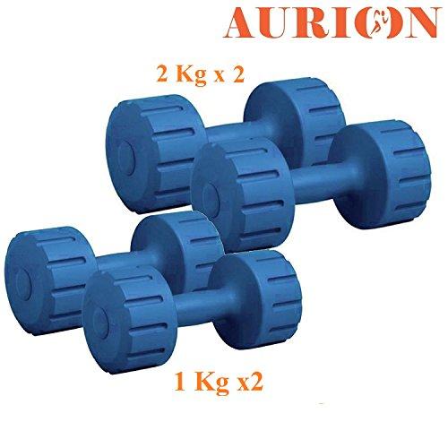 Aurion PVC Plastic Dumbell Set, Blue (6 KG Set (1 KG X 2 +2 KG X 2))