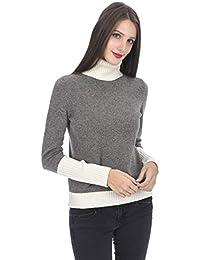 d6db2441afad State Cashmere Maglione Dolcevita con Contrasto di Colori 100% Cashmere da  Donna