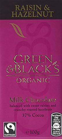 Green and Black's Organic Milk Chocolate Raisin and Hazelnut 100 g (Pack of 5)
