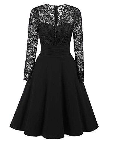 VENFLON Damen V-Ausschnitt mit langen Ärmeln Spitze Flare A-Linie Midi lässig Stitching Kleid (0021) (S, (Mädchen Rock Pudel Für)