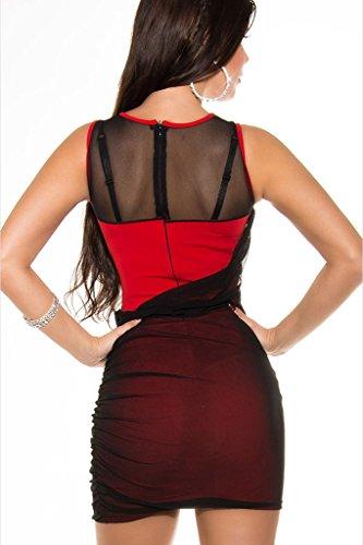 Bigood Sexy Robe Femme Maille Robes Col Rond Cœur Dos Zippé Soirée Rouge