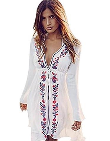 ASSKDAN Femme Bohême Robe de Plage Broderie Floral Col V Coton Manche Longue Mini Robe (Taille unique, Blanc)