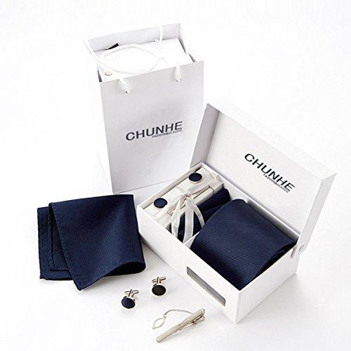 Sasairy Cravatta per Matrimonio Lavoro Uomo Lunghezza regolabile con coppia di gemelli per camicia, fazzoletto da giacca, fermacravatta, confezione regalo padre multicolore-Marina
