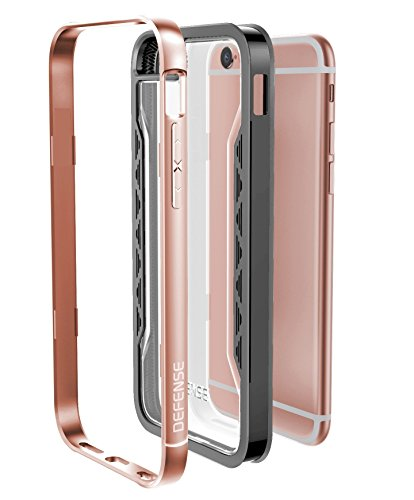 X-Doria 444644 Defense Shield Aluminium Schutzhülle für Apple iPhone 6/6S rosa/gold Gold, Pink, Transparent