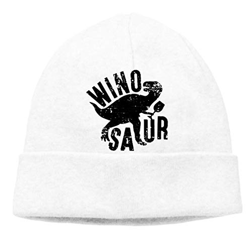 Dinosaur Wino Saur Warm Stretchy Solid Daily Skull Cap Knit Wool Beanie Hat Outdoor Winter Chunky Knit Visor Beanie