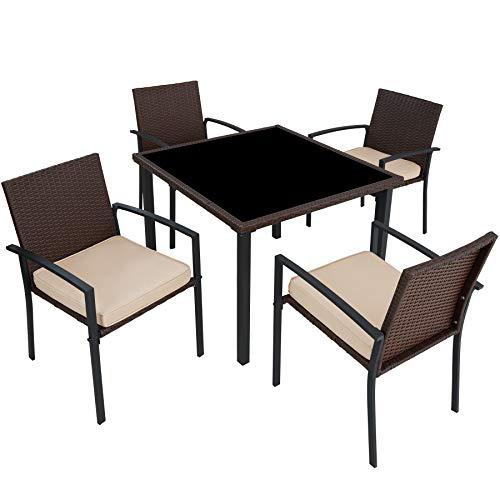 TecTake Poly Rattan Gartenmöbel Gartengarnitur Essgruppe 4 Stühle & 1 Tisch | leicht und strapazierfähig | mit Edelstahlschrauben | Diverse Farben (Braun | Nr. 403026)