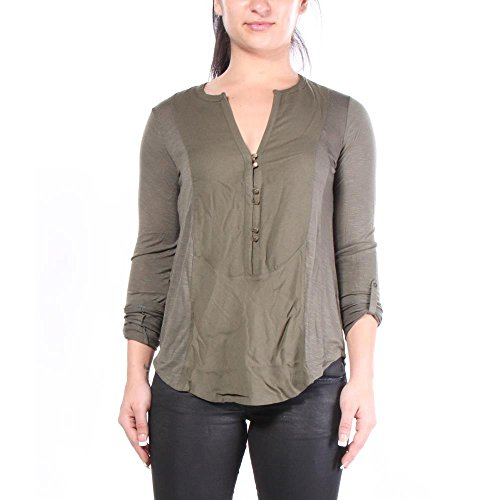 lucky-brand-woven-mixed-henley-camisetas-m-mujeres