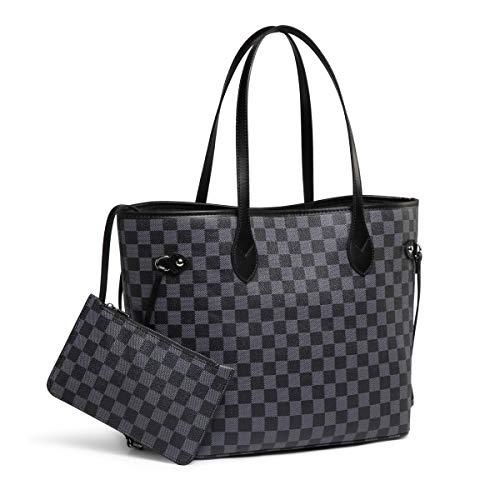 Daisy Rose Checkered Tote Umhängetasche mit Innentasche - Pu Vegan Leder (Schwarz) (Damen Vuitton Louis Handtaschen)