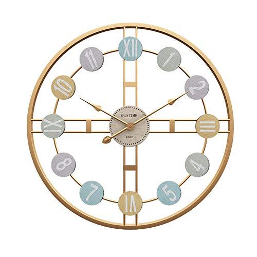 BGGZXX Reloj de Pared Reloj de Pared Mudo Montado en la Pared Tipo Hueco, Creativo Arte de Hierro Reloj Decorativo, Cocina de casa Grande,50cmindiameter