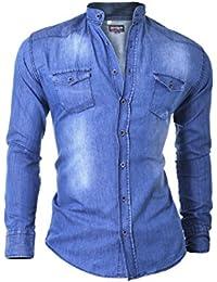 D&R Fashion Men's Light Denim Blue Jeans Shirt with Grandad Collar Slim Fit Cotton