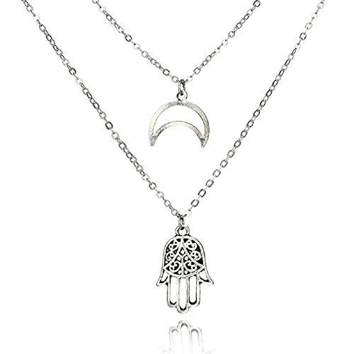 STRASS & PAILLETTES Collar de Cadena Doble de Luna Creciente de Plata y Collar de Mano de Fatma en una Caja de Regalo Rosa