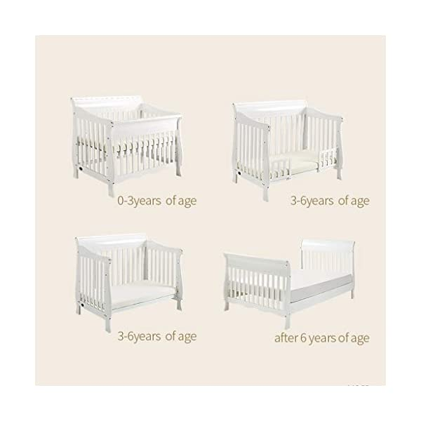 DUWEN-Cot bed Solid Wood Multifunction Baby Cot European Style Cot Bed Toddler Bed Splicing Bed With Wheel (color : White) DUWEN-Cot bed 1. This multifunctional crib is made of environmentally-friendly pine wood. It is tough and durable, not easy to crack. It has a load-bearing capacity of more than 120KG. It is green and non-toxic paint. It is healthy and environmentally friendly. It is harmless to the baby. Mother can buy with confidence. 2. The three pedestal positions of the crib are suitable for the baby's growth stage, improving visibility and ventilation in all directions, selecting the gear according to the baby's body and age, making the space bigger and more comfortable to use. 3. Multi-functional crib can be easily converted into a game bed, children's sofa, designed for healthy sleep of 0-6 years old baby (additional function can be used up to 6 years old), 55mm safety standard guardrail spacing, children's hands and feet will not be stuck 3