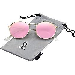 SOJOS Redondo Clásico Espejo Lentes Brillo UV Portección Polarizado Unisex Gafas De Sol SJ1014 Dorado Montura/Rosado lentes