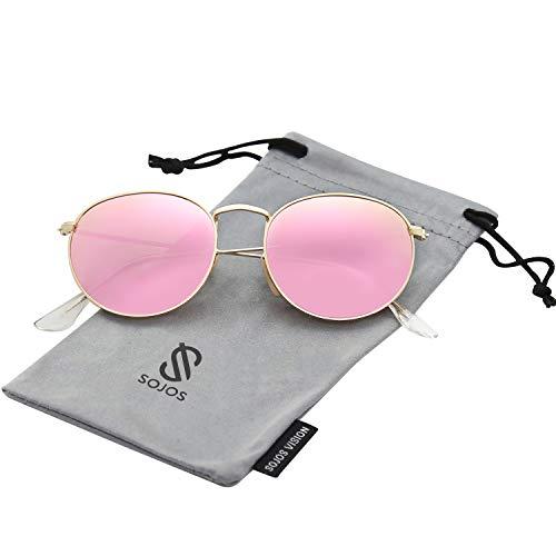 SOJOS Mode Rund Polarisiert Damen Herren Sonnenbrille Mirrored Linsees Unisex Sunglasses SJ1014 mit Gold Rahmen/Rosa Linse