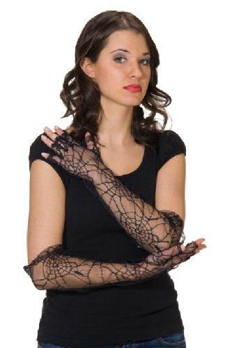 Karneval Zubehör fingerlose Handschuhe Spinnennetz lang für Kostüme
