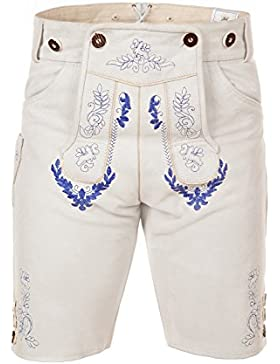Kurze Trachtenlederhose mit Hosenträger aus weißem Kalbsleder mit blauer Stickerei Gr. 44-52