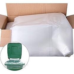 The Chemical Hut Lot de 10sacs de protection robustes pour poubelles à roulettes Transparent