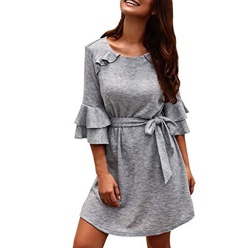 IZHH Damen Kleider, Roundhal Ausschnitt Einfarbig Freizeit Minikleid, 3/4 Ärmel Rüschen Elegant Partykleid Baumwolle Weich(Grau,L)