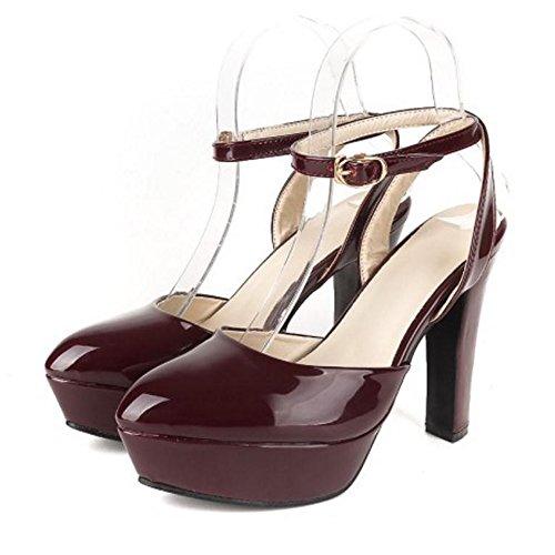 TAOFFEN Femmes Chaussures De Talons Hauts Western Bloc Slingback Escarpins De Boucle Vin Rouge