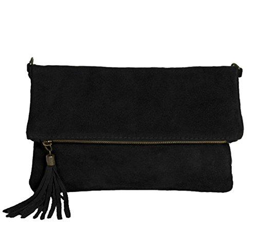 ImiLoa Clutch Handtasche Leder schwarz - klein Ledertasche Wildleder Umhängetasche - Abendtasche Lederhandtasche 24-bl (Schwarze Wildleder-clutch)