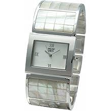 Davis - Reloj de cuarzo para mujer con correa de acero inoxidable, color plateado
