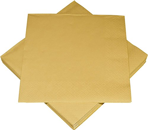 60 x Servietten Serviette uni Gold 33 x 33 cm Party Geburtstag Goldhochzeit