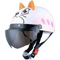 FairOnly - Casco de Seguridad con Gafas para Montar en Bicicleta, diseño de Gato Blanco con Monos de Dibujos Animados, Color marrón