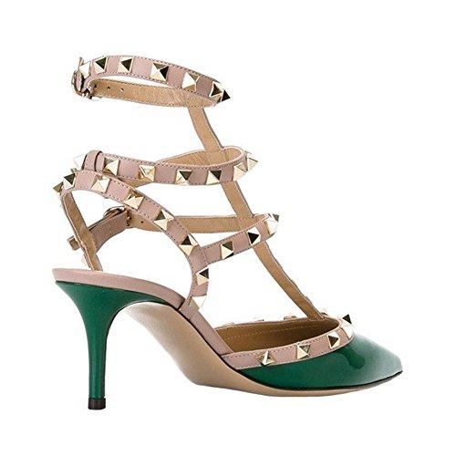 MERUMOTE, Scarpe col tacco donna Green-Patent