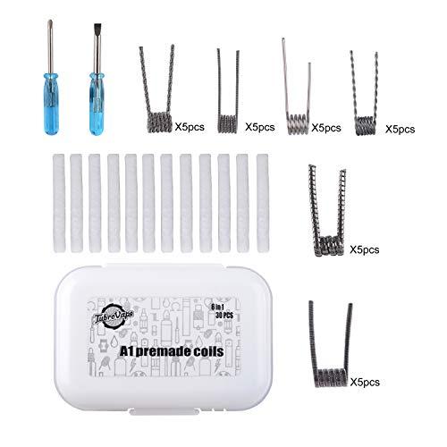 Neihou 30 Pack 6 In 1 Vorgefertigte Vorgebaute Spulen Draht Kit Für Elektronische Zigarette RDA RBA RTA Zerstäuber (Nikotinfrei MEHRWEG / ET007N)