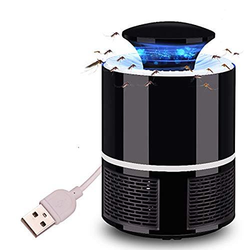 Foto de AOLVO USB Atrapa Mosquitos con Luz LED, Trampa Mosquitos Eléctricos para Insectos, Sin Productos Químicos, Negro