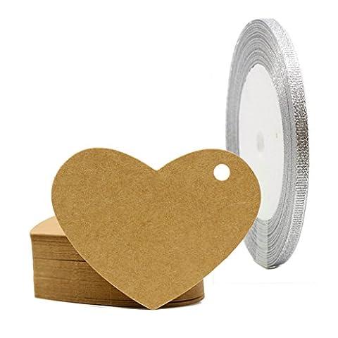 eKunSTreet ® 50Pcs Rustic Blank Kraft Brown Love Heart Paper