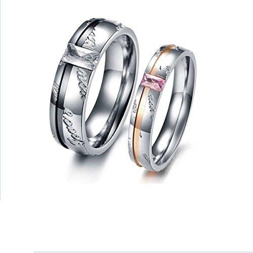 Dreamslink Coppia di anelli-Fede nuziale da uomo in acciaio INOX GJ327 Promise Love crystal shine, Anello da uomo, 20, cod. DGJ327-M9