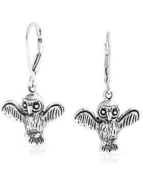 Bling Jewelry Flying kluge Eule Leverback Ohrringe Sterling Silber