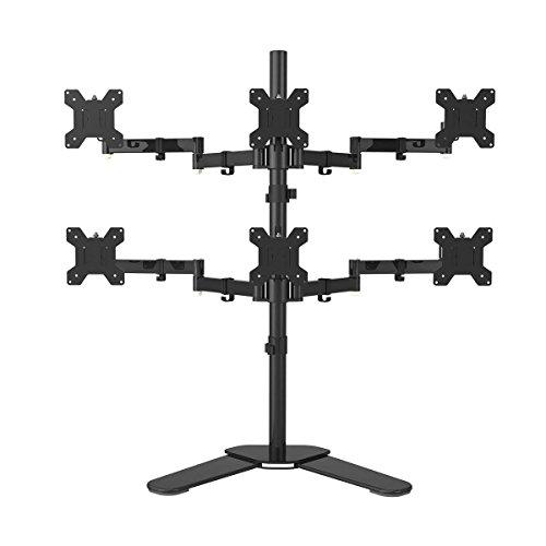 """suptek Hex Monitor Arm Tischhalterung Hochleistung & Voll Einstellbare 6 LCD LED Bildschirme Bis Zu 27""""/69cm Mit 15 ° Neigung, 360 ° Drehung Und 180 ° Herausziehen Schwenkarm Max VESA 100x100 ML68126"""
