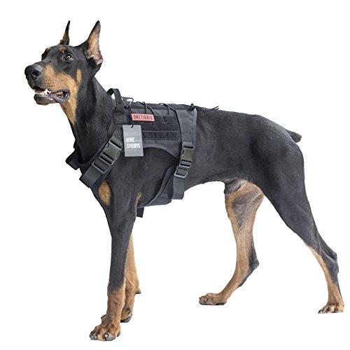 OneTigris Taktische Hundeweste Service Hundegeschirr MOLLE Hundeausbildung Geschirr 1000D Nylon (L, Schwarz) (Molle Hals)