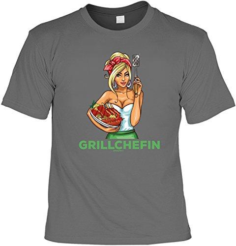 Griller T-Shirt - GRILL CHEFIN - FunHemd für BBQ und Grillen Anthrazit