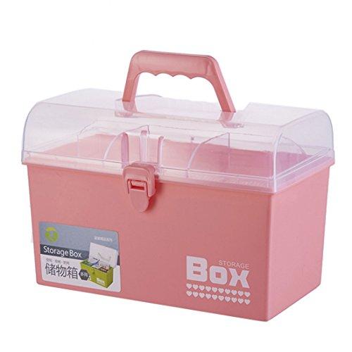 Winni43Julian Doppelstock Medizinbox - 26 * 18 * 15cm - Medikamentenbox -Tragbare Medizinische Box mit Verschiebbarem Schloss - Erste Hilfe Box - Rosa