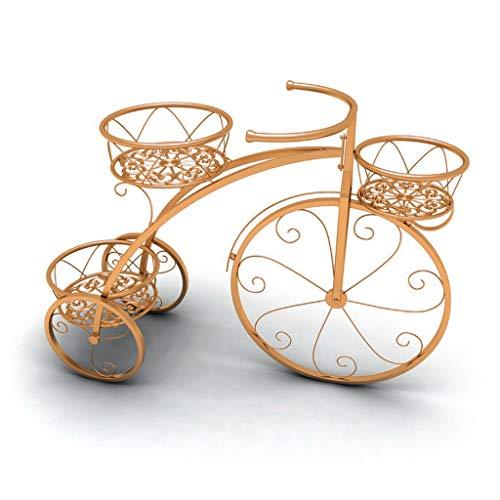 CXD Pflanzenständer Fahrradständer Display 3 Tier Metall Pflanzgefäß Blumentopfhalter Schritt Design Regale, freistehende Wohnkultur Regale Form Wasserdicht und rostfrei (Farbe : Gold) -
