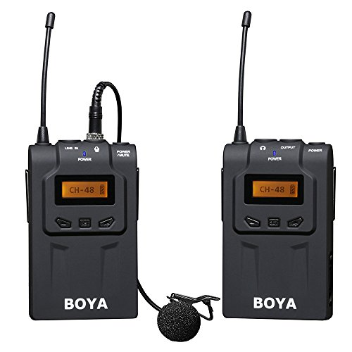 BOYA von WM6 UHF Wireless-Mikrofonsystem für DSLR-Kameras ENG EFP & Camcorder + Andoer Reinigungstuch