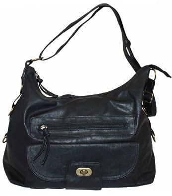 Ladies Womens Large Faux Leather Across Body Handbag Shoulder Bag Vintage Wash (Black)