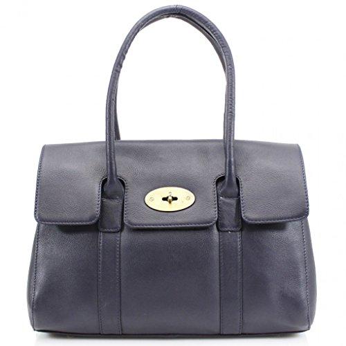 Echt Leder Damen Große Größe Handtaschen Genuine Leder Tote Schultertasche Berühmtheit Stil Handtasche CW32 (Groß Marine Tasche (37x15x45cm)) LeahWard eJtz6lt6