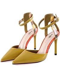 Los deslizadores atractivos del dedo del pie de la manera del verano de las sandalias del talón de estilete del alto talón femenino de los altos talones de la vendimia ( Color : Amarillo , Tamaño : 38