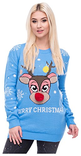 Christmas Sweater Damen Weihnachtspullover Weihnachten Pulli Xmas Einhorn Reh Bambi Rudolph Rentier rote Puschelnase