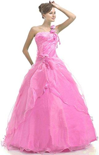 Vantexi Damen Ein-Schulter Abendkleid Ballkleid Partykleid Rosa