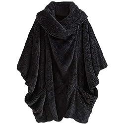 Mujeres Poncho Chal De Punto Jerseys Cardigan Sweater Casual Cuello Alto sólido Bolsillos Grandes Abrigos De Invierno Tops Manga Larga Borla Asimétrico Color Patchwork El Bolsillos