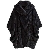 Yvelands Mujer Casual Sólido Cuello Alto Grandes Bolsillos Capa Abrigos Vintage Abrigos de Gran tamaño Tops Blusa
