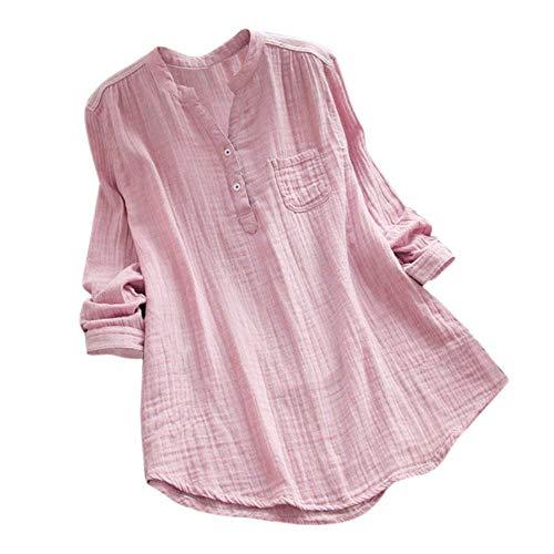 Yvelands Damen Bluse Tops Casual Knopf Plus Size Splice Baumwolle T-Shirt Gitter lose Bluse ()