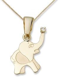 Miore Kinderhalskette Elefant und Brillant in 18ct/750 Gelbgold 45 cm MK016P
